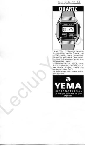 Publicité YEMA 197? | Encart Presse ; Y10 ; Quartz LCD 02002