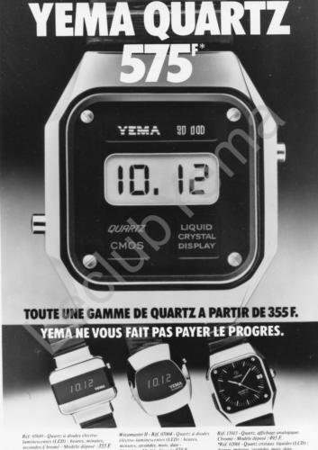 Publicité YEMA 197? | XXXF ; YEMA Quartz ; Quartz Y10 N&B