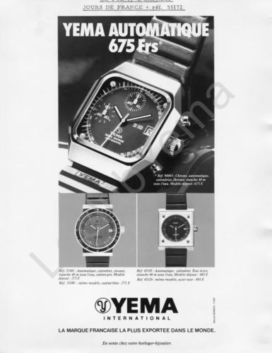 Publicité YEMA 197? | XXX Frs ; Chrono Automatique 9003