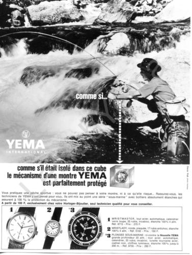 Publicité YEMA 196? | Cube ; Visuel Pêche ; Wrismaster 8715 ; Wristlady 5102 ; Sous Marine SeaHunter 8755