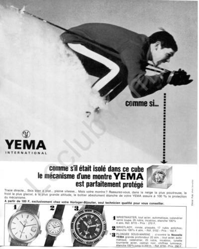 Publicité YEMA 196? | Cube ; Visuel Ski ; Wrismaster 8715 ; Wristlady 5102 ; Sous Marine SeaHunter 8755