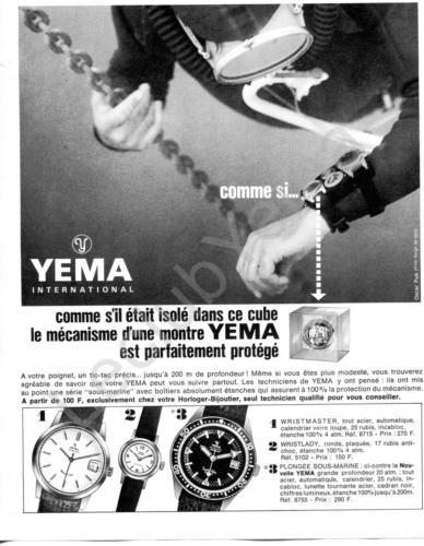 Publicité YEMA 196? | Cube ; Visuel Plongée ; Wrismaster 8715 ; Wristlady 5102 ; Sous Marine SeaHunter 8755