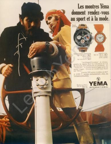 Publicité Yema 1969 | Paris Match et ELLE ; RDV Sport et Mode ; Yachtingraf Croisière 92.001.L et bicompax 93.014.H ; Couleur