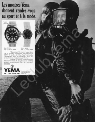 Publicité Yema 1969 | Paris Match et ELLE ; RDV Sport et Mode ; Superman 87.062.K ; N&B