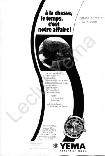 Publicité YEMA 1972 | Encart vertical ; Yema ; visuel Chasse ; Sous Marine 83.001.K