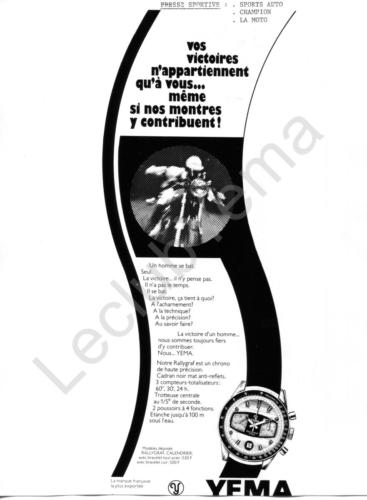 Publicité YEMA 1972 | Encart vertical ; Vos victoires ; Yema Rallygraf Formica bicompax date