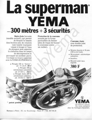 Publicité YEMA 1968 (?) | Superman 87.077 N&B
