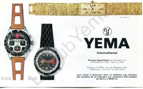 Collection YEMA 1969 | Campagne Paris Match Sport et Mode ; Rallygraf 92.002M et 93.016B bicompax ; Meangraf 61.006 Z ; Superman grise 87.062.K; p.1/5