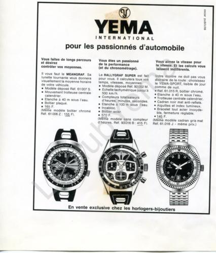 Publicité YEMA 197? | Meangraf ; Rallygraf Super ; YEMA Sport 61.015