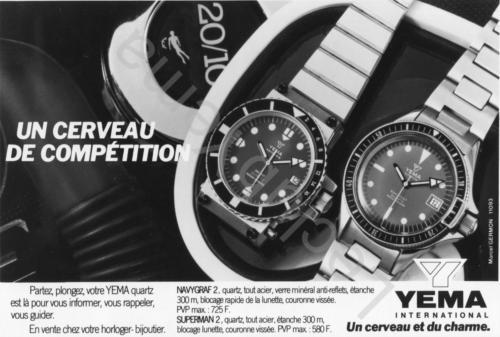 Publicité YEMA 198? | Un cerveau de compétition ; Navygraf Superman