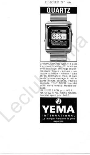 Publicité YEMA 197? | Encart Presse ; YEMA Fairchild Quartz LCD 12.223.6 ADB et 12.223.6 AD