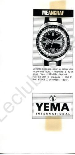 Publicité YEMA 1970 (?) | Encart presse ; Meangraf 61.007S et 61.006Z