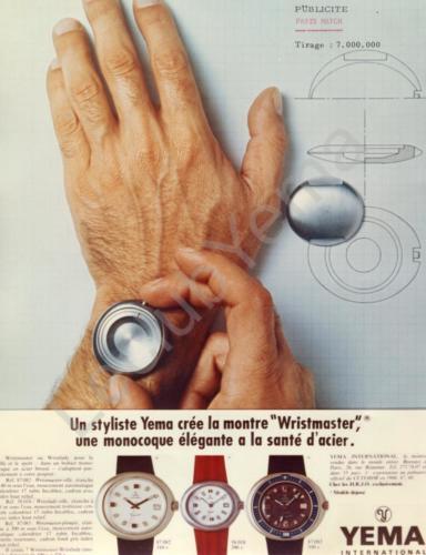 Publicité YEMA 1970 | Paris Match ; Wrismaster Monocoque Ville 87.082 ; Lady 58.018 ;Plongée 87.083