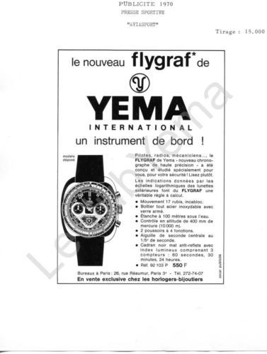 Publicité YEMA 1970 | Encart Presse Aviasport ; Flygraf 92.103 P Micronora