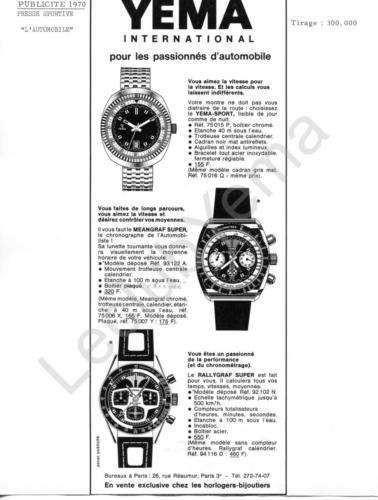 Publicité YEMA 1970 | Encart Presse ; Passionnés Automobiles ; Rallygraf 94.116 D ; Meangraf Super 93.122 A et 75.007 Y ; Yema Sport 75.015 P et 75.06 Q