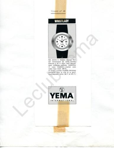 Publicité YEMA 1970 (?) | Encart presse ; Wristlady Monocoque 58 018
